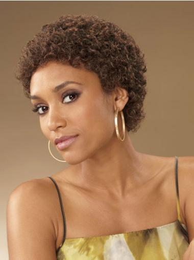 Brown Boycuts Curly No-fuss African American Wigs
