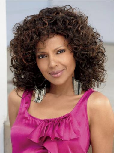 Brown Afro Curly Comfortable African American Wigs