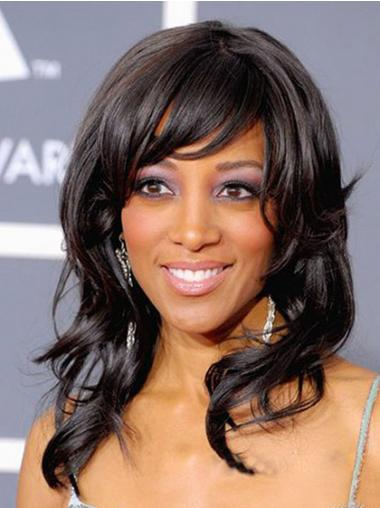 Black Layered Wavy Trendy African American Wigs