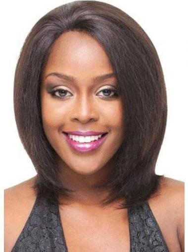 Brown Indian Remy Hair Straight Fashionable Medium Wigs