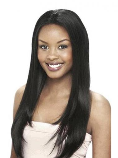 Black Indian Remy Hair Straight Perfect Human Hair Lace Front Wigs