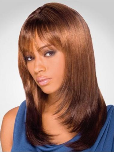 Auburn Layered Straight Hairstyles Medium Wigs
