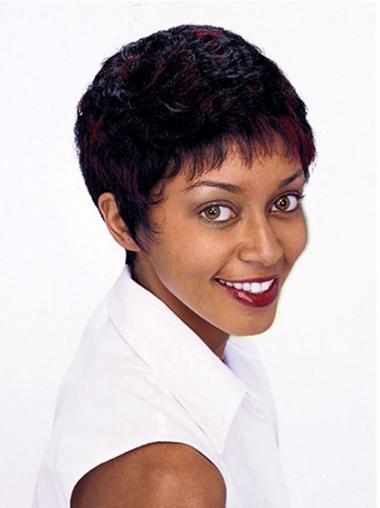 Boycuts Auburn Curly Trendy African American Wigs