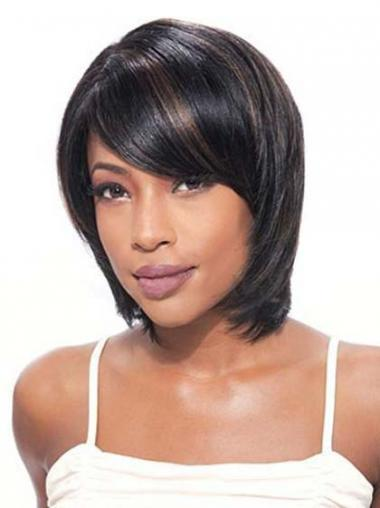 Black Straight Affordable Medium Wigs