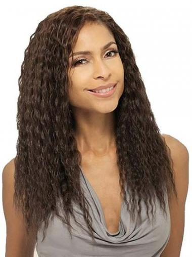 Wavy Brown Indian Remy Hair Convenient African American Wigs
