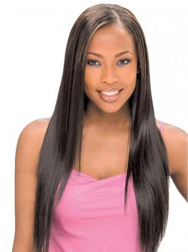 Straight Black Without Bangs Comfortable Glueless Lace Front Wigs