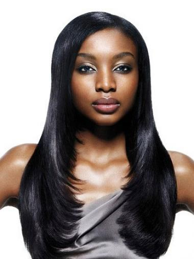 Straight Black Without Bangs Fashionable African American Wigs