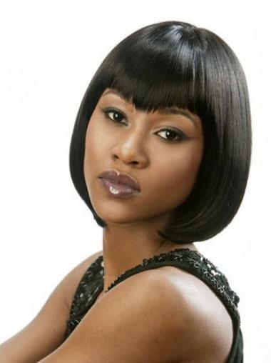 Black Bobs Straight Natural Medium Wigs