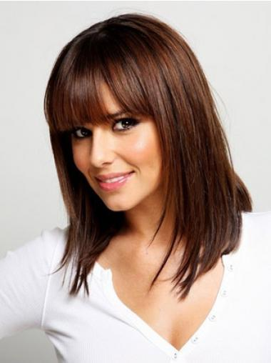 With Bangs Auburn Straight Comfortable Medium Wigs