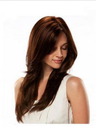 Straight Auburn Without Bangs Fashionable Glueless Full Lace Wigs