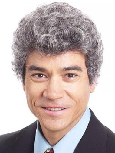 White Grey Curly Natural Men Wigs