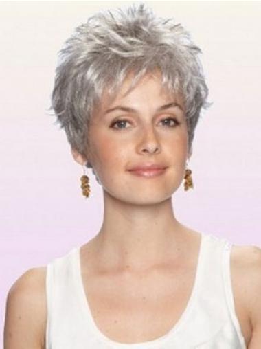 Boycuts Wavy Gorgeous Grey Wigs