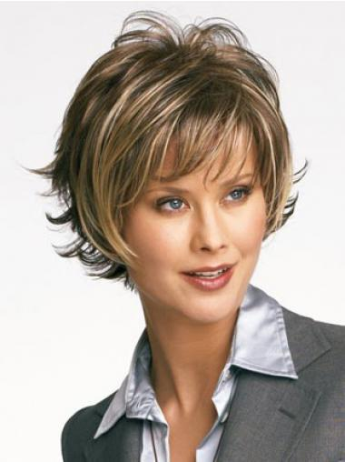 Wavy Brown Layered Discount Short Wigs