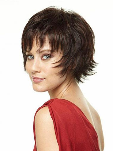 Brown Layered Straight Suitable Short Wigs