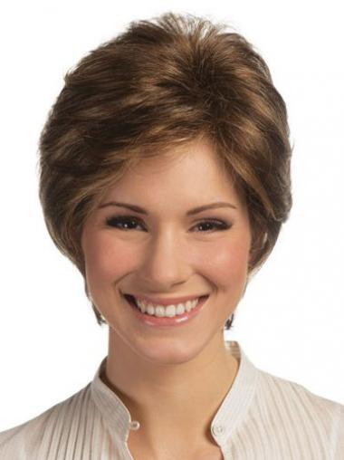 Brown Boycuts Straight No-fuss Remy Human Lace Wigs