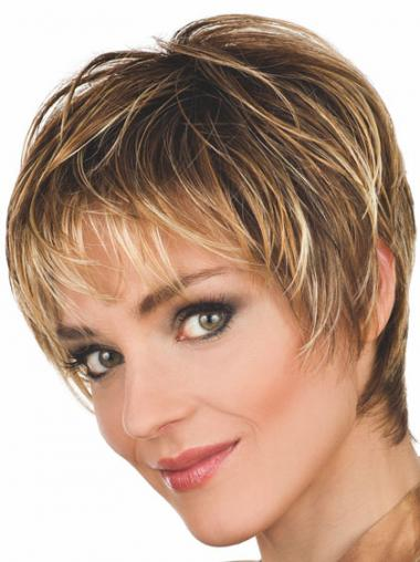 Brown Boycuts Wavy Comfortable Short Wigs