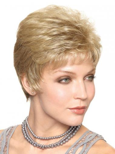 Blonde Boycuts Straight Natural Classic Wigs