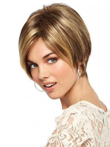 Synthetic Blonde Synthetic Straight Short Wigs