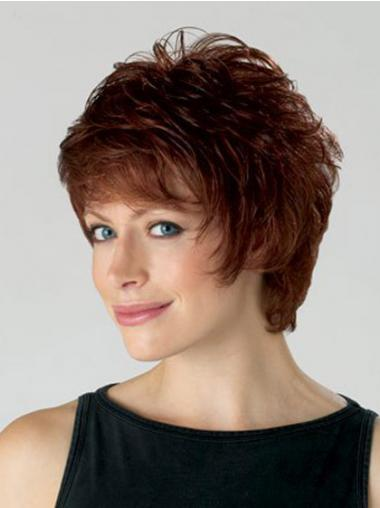 Wavy Auburn Layered Convenient Short Wigs
