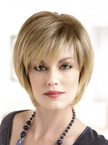 Bobs Blonde Straight Fashionable Medium Wigs