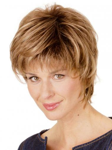 Blonde Layered Straight Trendy Short Wigs