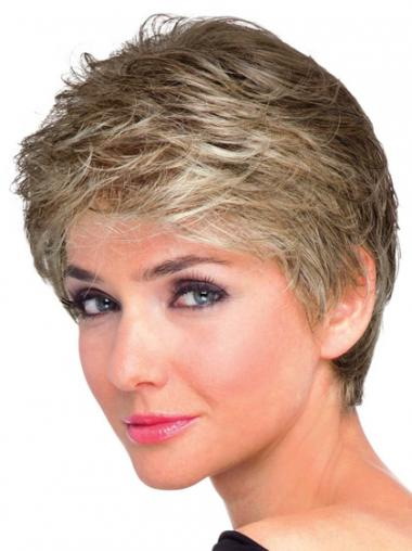 Brown Boycuts Wavy Soft Short Wigs