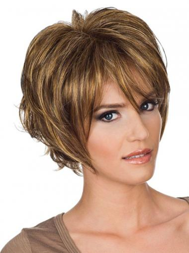 Auburn Layered Wavy Sleek Short Wigs
