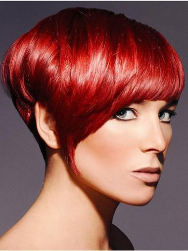 Red Boycuts Straight Designed Short Wigs
