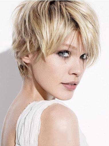 Straight Blonde Boycuts Fashionable Short Wigs