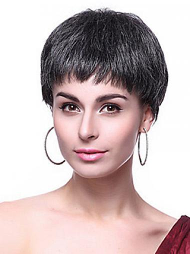Black Boycuts Straight Sleek Short Wigs