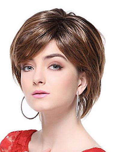 Straight Brown With Bangs Hairstyles Short Wigs