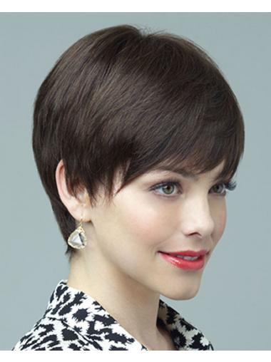 Straight Brown Layered Best Short Wigs