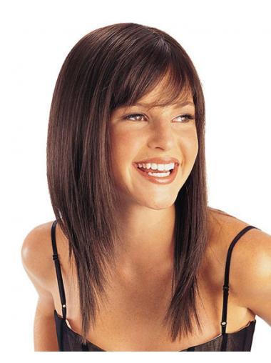 Straight Brown Layered Beautiful Medium Wigs