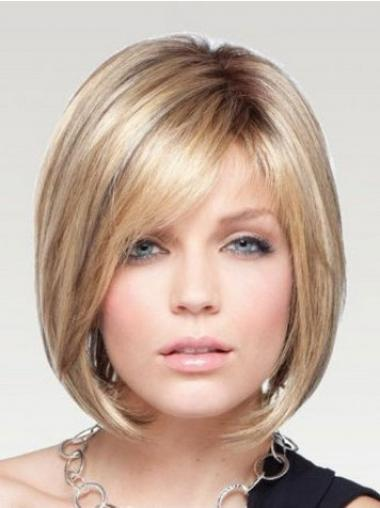 Blonde Bobs Chin Length Fashion Medium Wigs