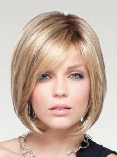 Blonde Bobs Chin Length Fashion Medium Wigs